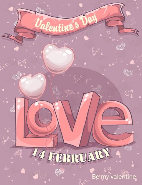 Cartão para o dia dos namorados Vetor Premium