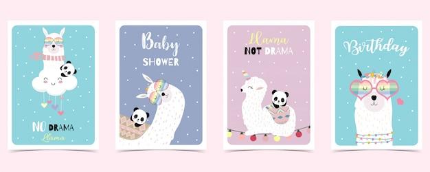 Cartão pastel com lhama, panda Vetor Premium