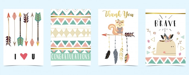 Cartão pastel com penas, flecha, baleia Vetor Premium