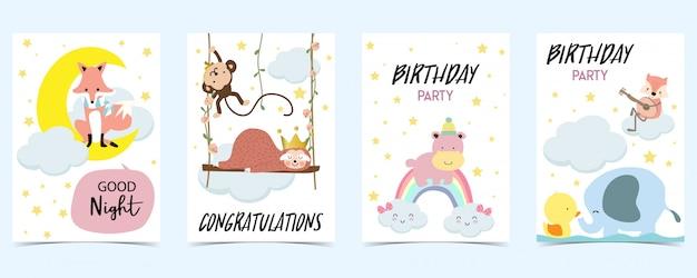 Cartão pastel com raposa, macaco, arco-íris, pato Vetor Premium