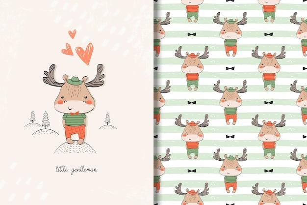 Cartão pequeno do bebê dos alces e teste padrão sem emenda. ilustração de crianças com fundo bonito Vetor Premium