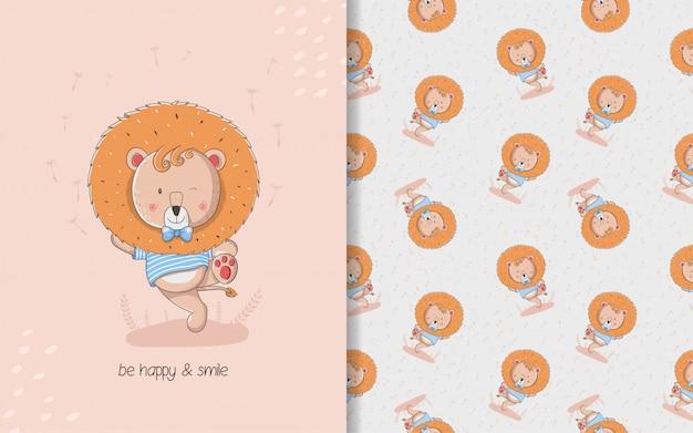 Cartão pequeno leão bonito e padrão sem emenda. ilustração de crianças Vetor Premium