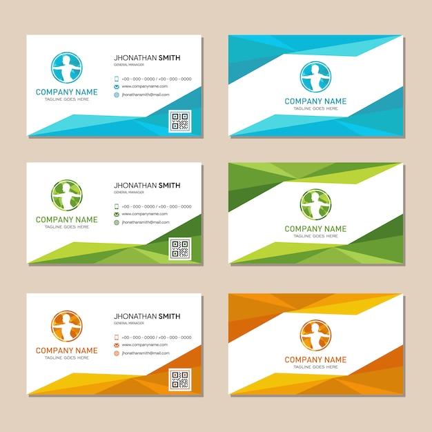 Cartão poligonal abstrato do fundo do logotipo Vetor Premium