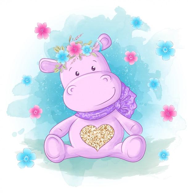 Cartão postal bonito, hipopótamo, flores e borboletas estilo dos desenhos animados. Vetor Premium
