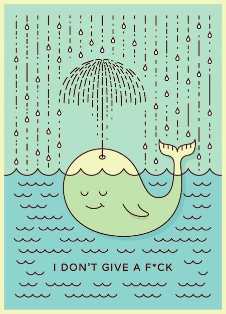 Cartão postal com bebê fofo baleia descuidada nadando no mar sob chuva fazendo guarda-chuva fora de sua fonte. Vetor Premium