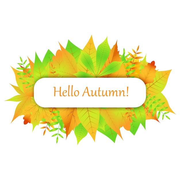 Cartão postal da folha de outono Vetor Premium