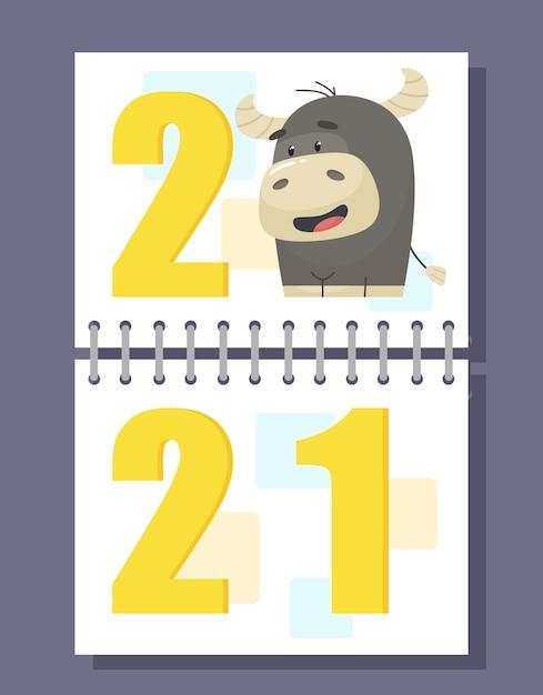 Cartão postal de calendário espiral 2021 com touro. em estilo cartoon plana. Vetor Premium