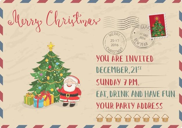 Cartão postal de natal vintage com carimbo e carimbo Vetor Premium