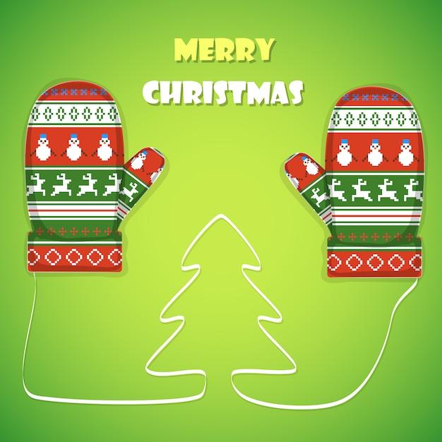 Cartão postal de natal. Vetor Premium