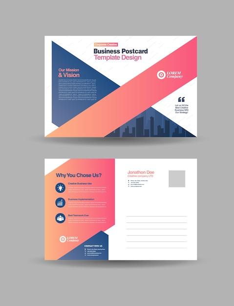 Cartão postal de negócios corporativos ou cartão de convite para salvar a data Vetor Premium