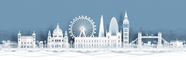 Cartão postal de panorama e cartaz de viagens de monumentos famosos do mundo de londres, inglaterra Vetor Premium