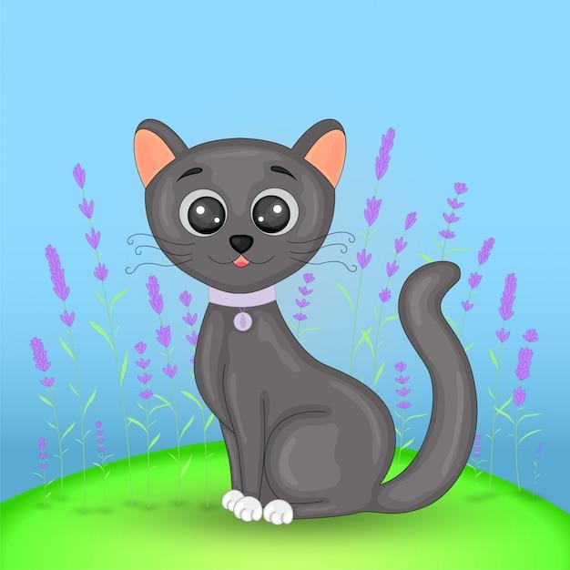 Cartão postal de presente com gato de animais dos desenhos animados. Vetor Premium