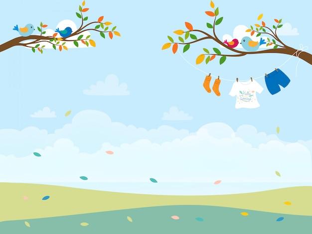 Cartão postal de primavera ou verão Vetor Premium