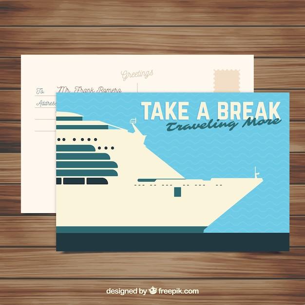 Cartão postal de viagem com navio de cruzeiro plana Vetor grátis