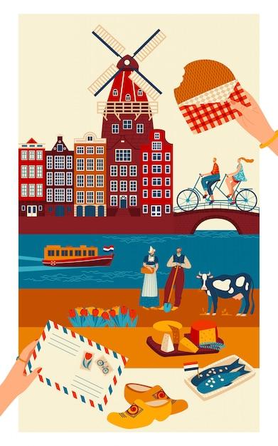 Cartão postal de viagem holanda, principais símbolos da cultura holandesa e pontos turísticos, ilustração Vetor Premium