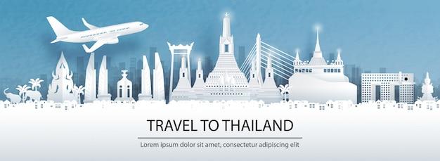 Cartão postal de viagem, tour de publicidade de monumentos mundialmente famosos da tailândia Vetor Premium