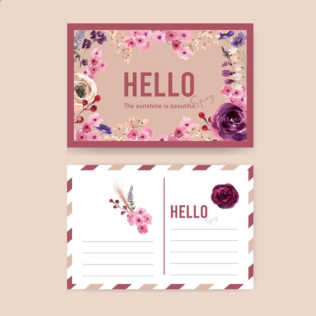 Cartão postal de vinho floral com mouquet, rowan, ilustração aquarela rosa. Vetor grátis
