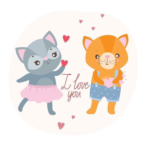 Cartão postal eu te amo com gatos Vetor grátis
