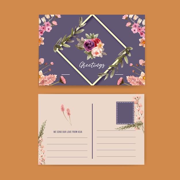 Cartão postal floral vinho com rosa, lírio de calla, ilustração em aquarela de trigo. Vetor grátis