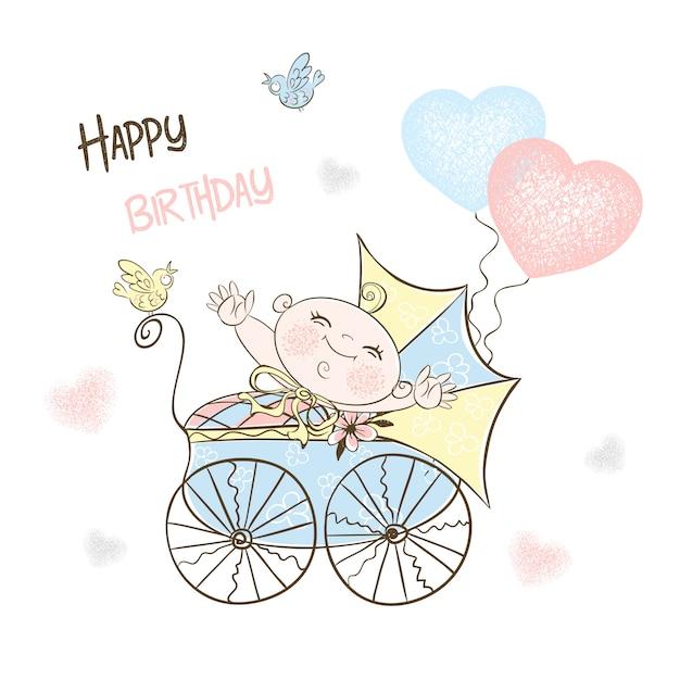 Cartão postal para o nascimento de um menino com um carrinho e balões. Vetor Premium