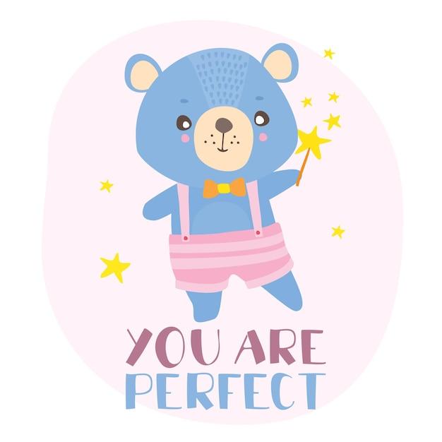 Cartão postal você é perfeito com ursinho de pelúcia Vetor grátis