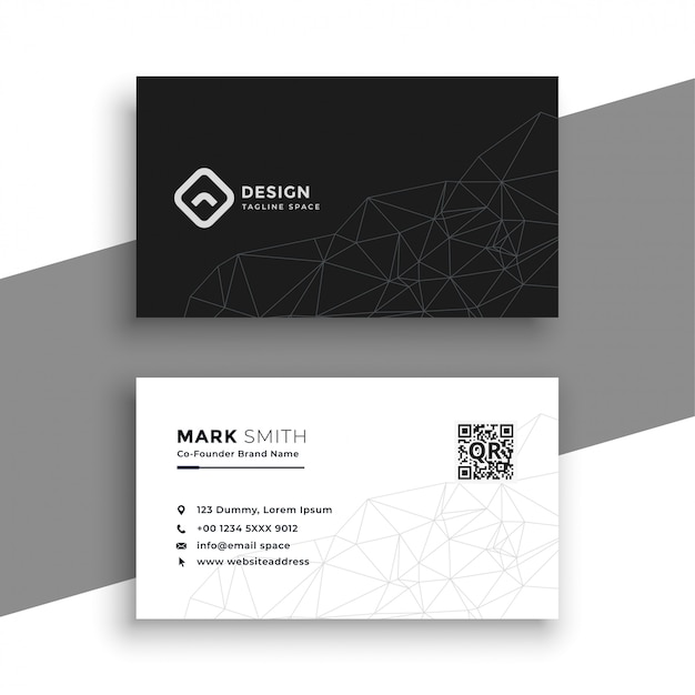 Cartão preto e branco simples Vetor grátis
