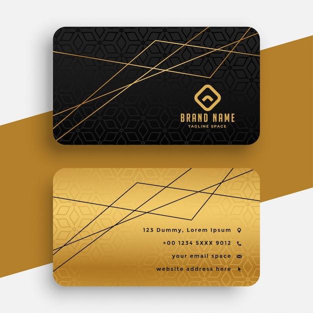 Cartão preto e dourado com linhas geométricas Vetor grátis