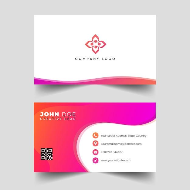 Cartão profissional moderno das ondas do rosa Vetor Premium