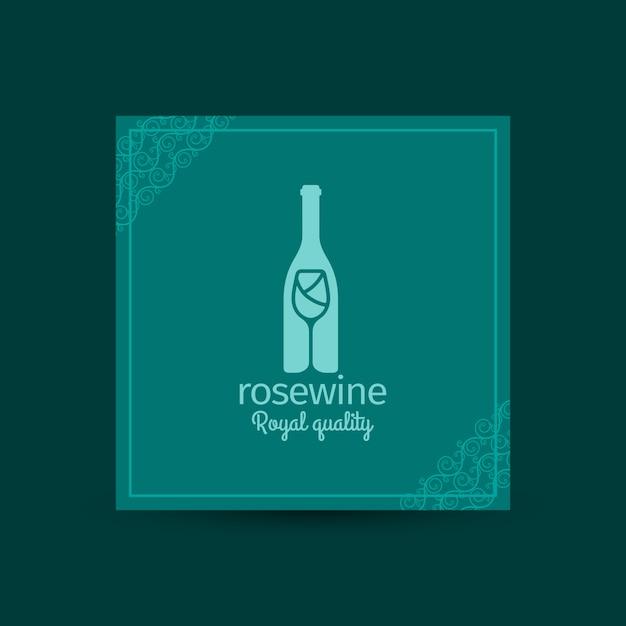 Cartão quadrado da qualidade real de rosewine Vetor Premium