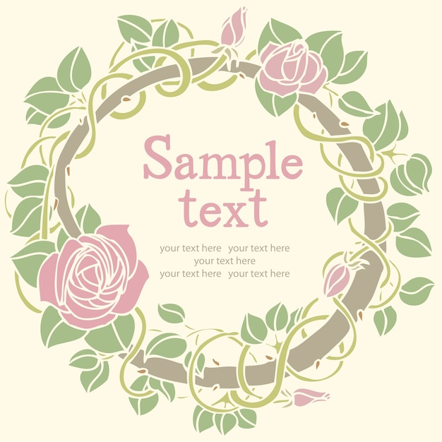 Cartão redondo da flor de rosa Vetor grátis
