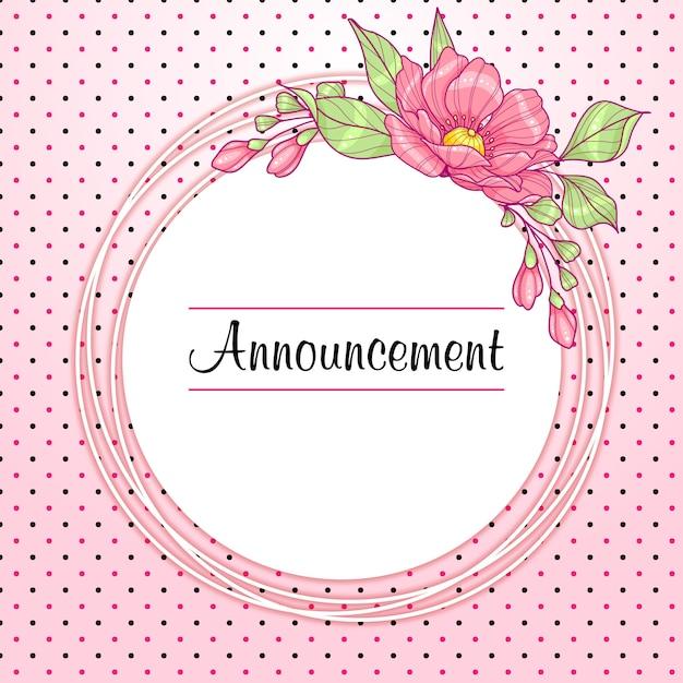 Cartão redondo rosa com flores e bolinhas Vetor Premium