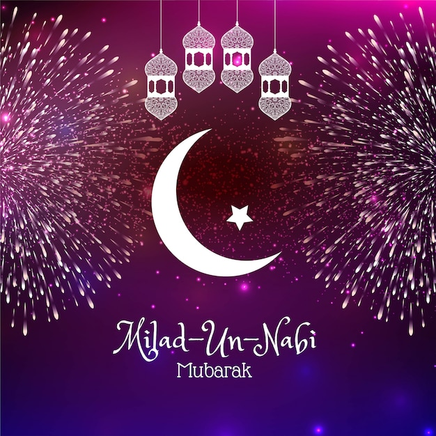 Cartão religioso do fogo de artifício de milad un nabi Vetor grátis