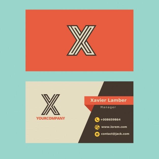 Cartão retro com letra x Vetor grátis