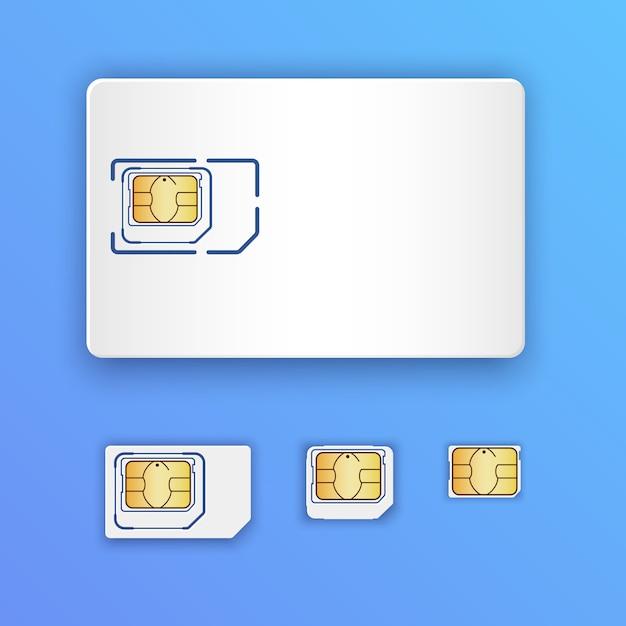 Cartão sim realista em branco Vetor Premium
