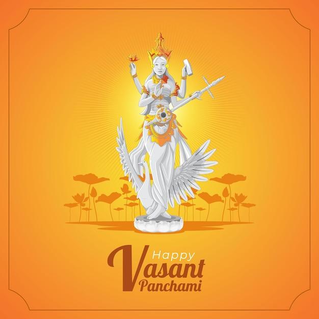 Cartão vasant panchami com a estátua da deusa saraswati Vetor Premium