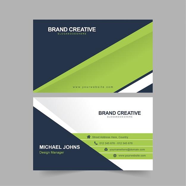 Cartão verde azul corporativo Vetor Premium