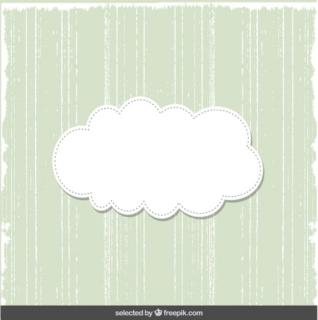 Cartão verde bonito com nuvem Vetor grátis