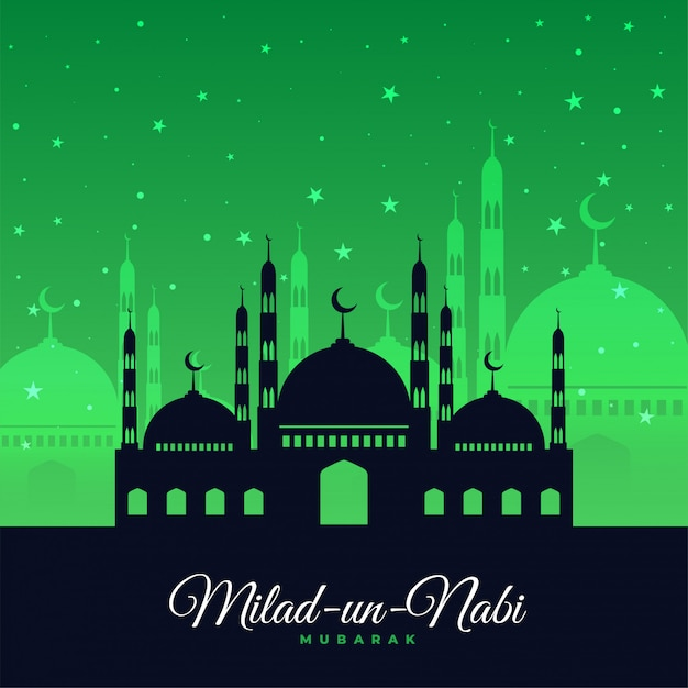Cartão verde do festival de milad un nabi Vetor grátis