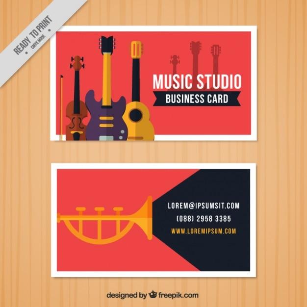 Cartão vermelho para um estúdio de música Vetor grátis