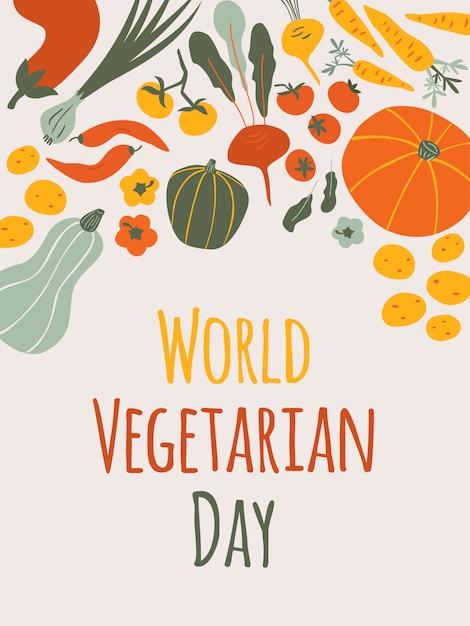 Cartão vertical do dia mundial do vegetariano em fundo claro com composição de legumes outono Vetor Premium