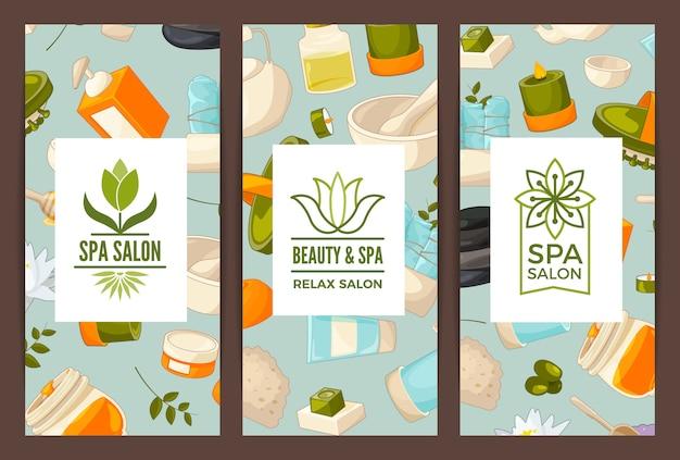 Cartão vertical ou flyer para salão de beleza e spa ou loja de banho Vetor Premium