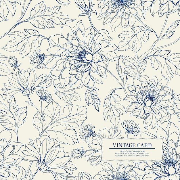 Cartão vintage com padrão sem emenda de flores. Vetor Premium