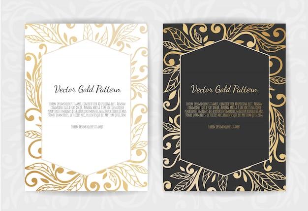 Cartão vintage de ouro em preto Vetor Premium