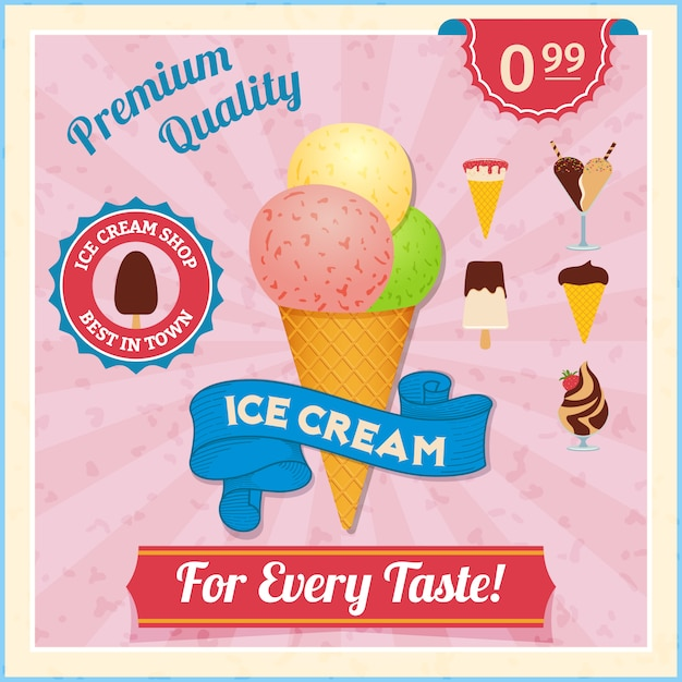 Cartão vintage de sorvete Vetor grátis