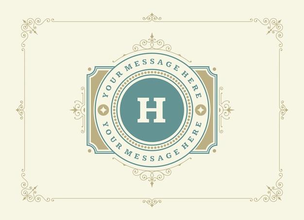Cartão vintage ornamento redemoinhos ornamentados caligráficos e vinhetas Vetor Premium