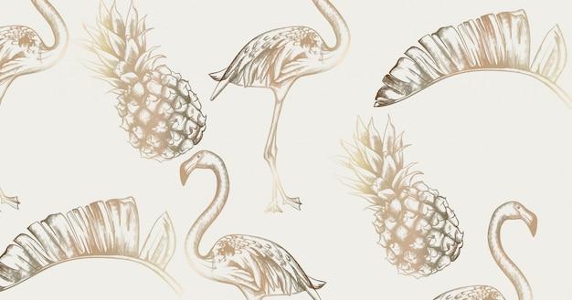 Cartão vintage tropical com flamingo e abacaxi. texturas brilhantes do paraíso exótico retrô Vetor Premium