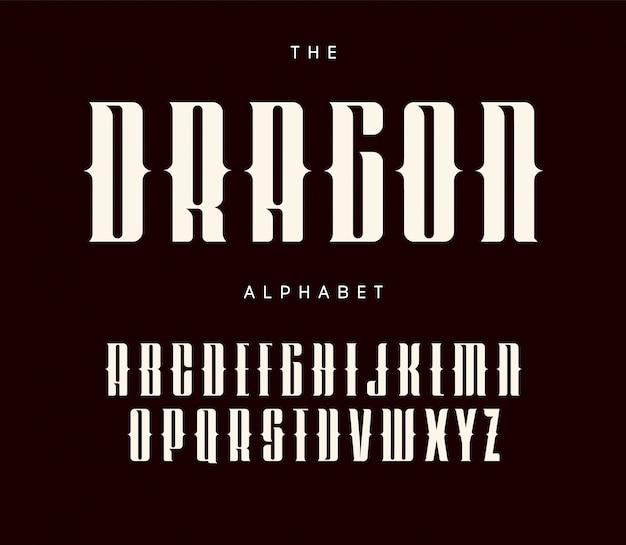 Cartas altas e ousadas com serifas e recortes. design tipográfico de estilo de tatuagem. Vetor Premium
