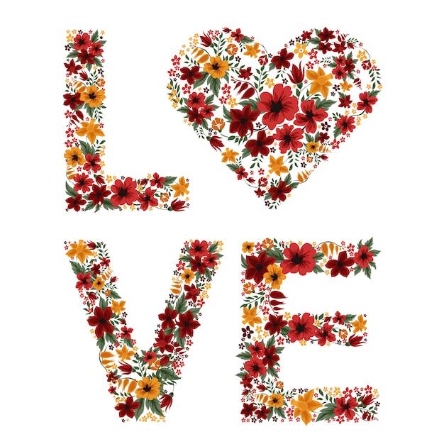 Cartas de amor de flores Vetor Premium
