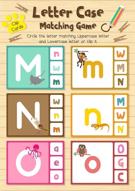 Cartas de animais clip jogo de correspondência de letra Vetor Premium
