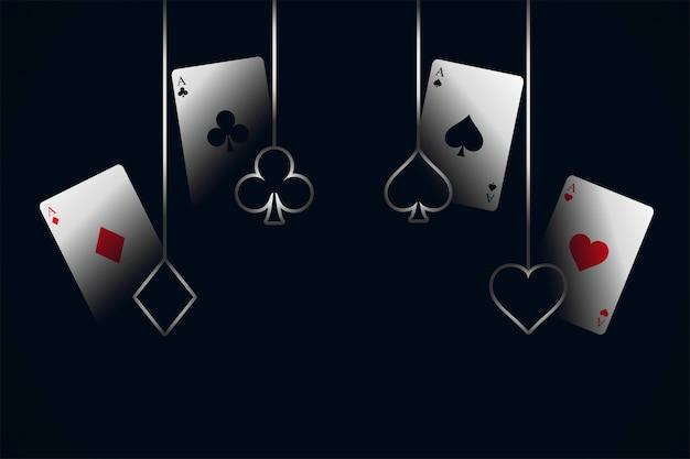 Cartas de jogar de cassino com fundo de símbolos Vetor grátis